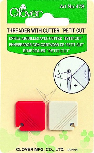 Clover Needle Threader with Cutter -Petit Cut (2 pack)